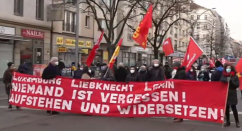 Demonstration for Karl Liebknecht and Rosa Luxemburg in Berlin, 10/01/2021